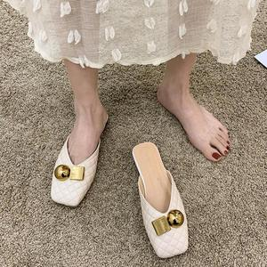 Slippers Women 2021 Spring Summer New Mules Shoes Fashion Vintage Solid Square Toe Flat Sandals Metal Decoration Outdoor Slides