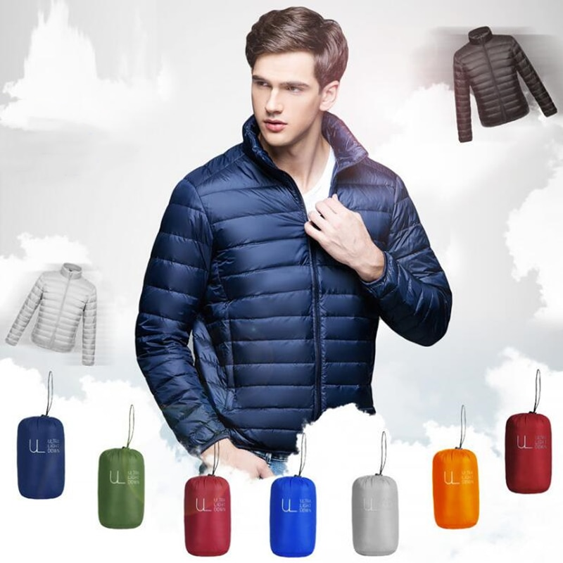 Winter Casual Down Jacket Ultra Light White Duck Down Jacket Men Windbreaker Coat Male Outwear Loose Ultra light Jacket Parka