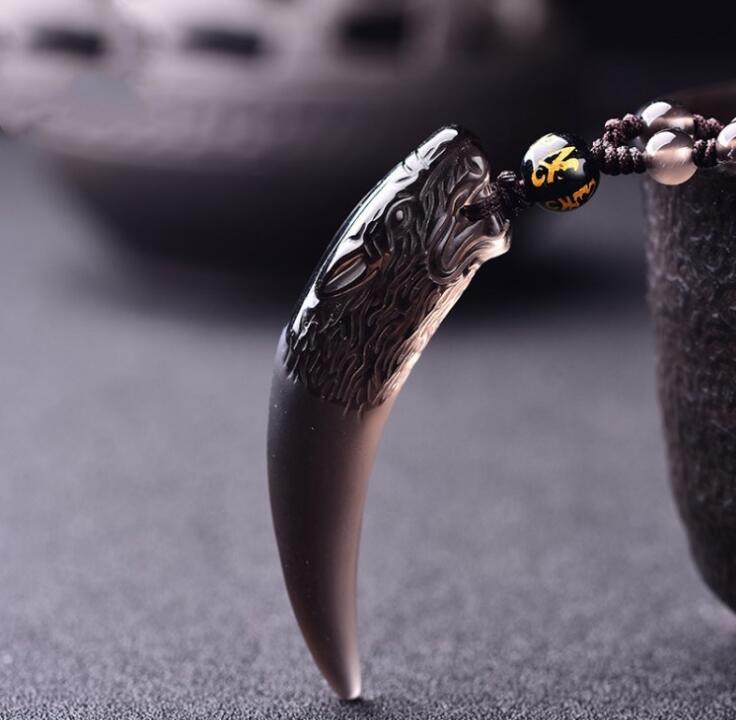 Collar de piedra Natural de obsidiana negra y de hielo amuletos Diente...