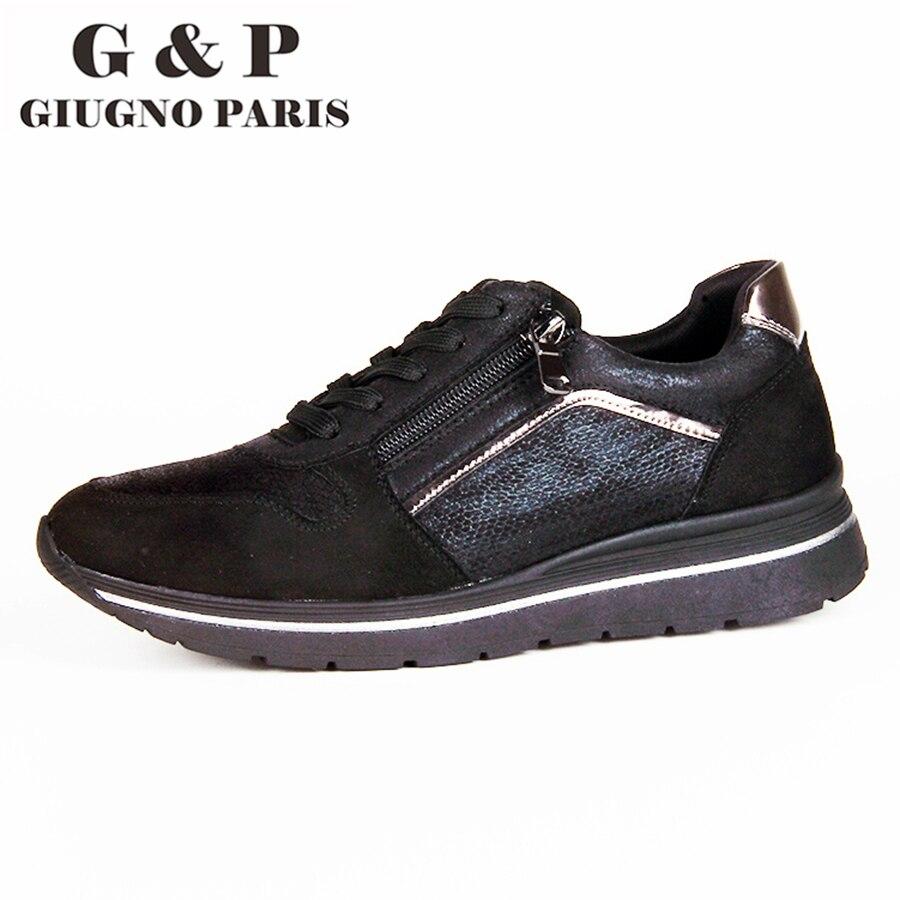 Flats shoes women comfortable sneakers new autumn winter design with zipper 35mm platform  easy to wear walk