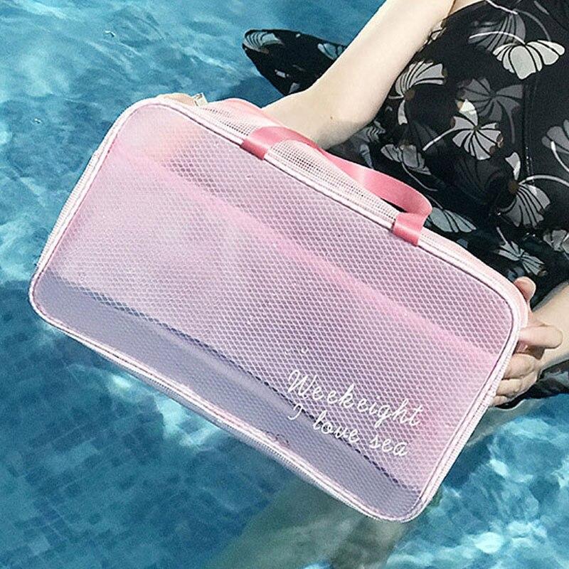 Translucence Women Travel Cosmetic Bag Waterproof PVC Beauty Case Fashion Beach Bag Small Toilet Bag Professional Makeup Kit