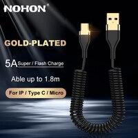 Кабель зарядный NOHON с разъемами Micro USB и USB Type-C, 5 А