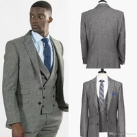grey tweed three piece tailored suit three pieces mens suit fashion groom suit wedding suits for best men slim fit groom tuxedos