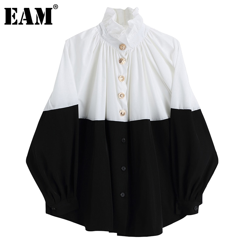 [EAM] Women Contrast Color Pleated Big Size Blouse New Stand Collar Long Sleeve Loose Shirt Fashion