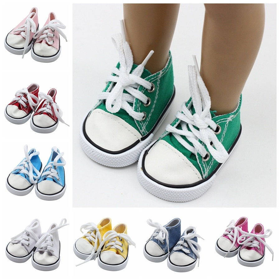 Wholesale High Quality 7cm Canvas Doll Shoes Fits 43cm Baby Doll 18 inch Doll Sports Sneackers Shoes Girl's Gift