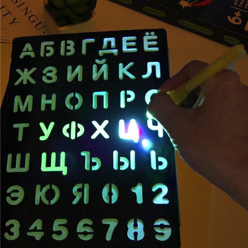 Tablero de dibujo luminoso LED, dibujo de grafiti, tableta de dibujo, luz mágica, bolígrafo fluorescente divertido, educativo, BoyGirl ChristmasToys