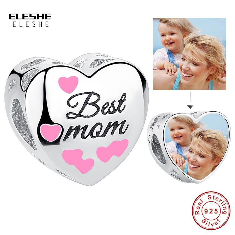 ELESHE, foto personalizada, abalorio de plata de ley 925, esmalte rosa, la mejor cuenta de corazón para mamá, apto para pulsera DIY, regalo de joyería personalizado