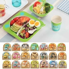 Juego de 5 unids/set de plato de alimentación para bebé, platos, tenedor, cuchara, taza, vajilla de fibra de bambú para niños, plato de alimentación con separación de dibujos animados
