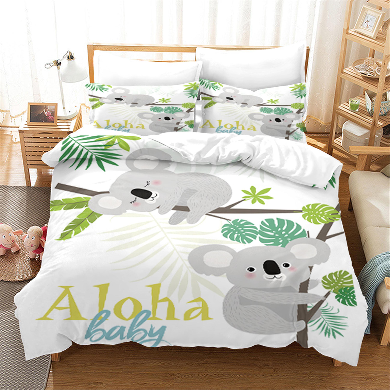 الأبيض الكرتون لطيف كوالا طقم سرير Aniaml حاف الغطاء مع المخدة 2/3 قطعة طقم سرير الأطفال الاطفال أغطية سرير هدية