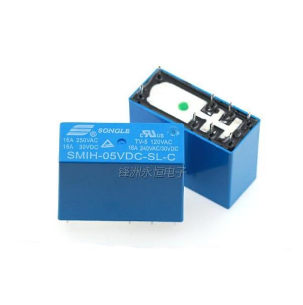 10 unidades/lote SMIH-05VDC-SL-C/SMIH-12VDC-SL-C/SMIH-24VDC-SL-C 16A/240V 5V/12V/24V 8P/8pin Relés de Potencia