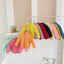 Children's Winter Solid Color Warm Down Jacket Boys and Girls Can Be Stored Out Jackets Are Slightly
