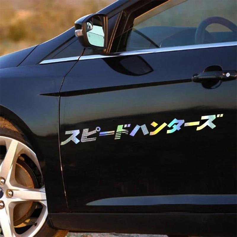 100*9.2cm jdm japonês etiqueta do carro em fibra de carbono automóvel frente vento janela motor capô reflexivo decalque para speedhunters