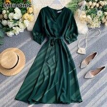 Spring Autumn Vintage Midi Dress  Elegant Short Sleeve V-neck Green/Red/Black/Blue Dress Casual High Waist Female Dress Vestidos