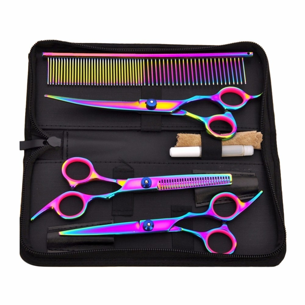Professional 7 Inch Color Pet Scissors Dog Grooming Comb Grooming Hair Stainless Steel Pet Cat and D