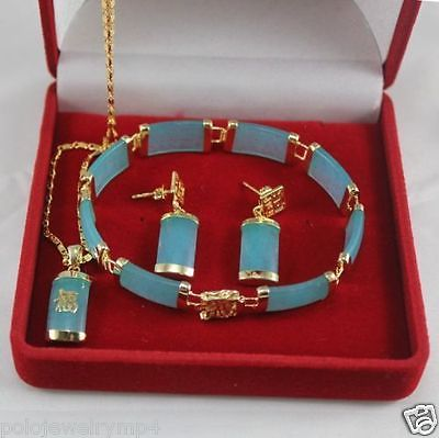 Joyería azul jade colgante collar pulsera pendientes Set> reloj al por mayor cuarzo jade CZ cristal