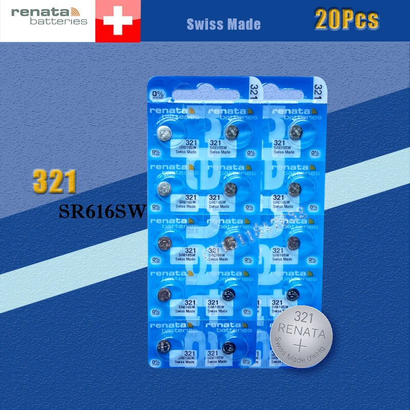 20 xrenata Серебряный оксид часы батарея 321 SR616SW 616 1,55 V 100% оригинальный бренд renata 321 renata 616 батарея