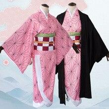 Anime Dämon Slayer: kimetsu keine Yaiba Cosplay Kostüm Kamado Nezuko Cosplay Frauen Rosa Kimono Perücken Clogs Robe Mantel Geta Schuhe