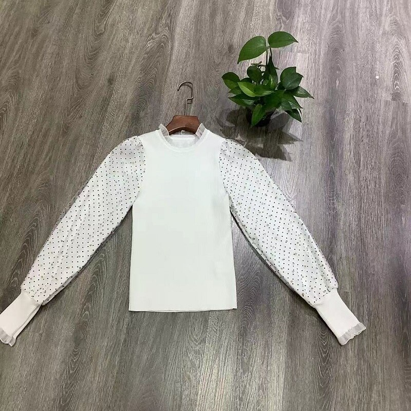 High Quality Sweaters & Pullovers 2021 Autumn Winter Tops Women Polka Dot Print Patchwork Long Sleeve Casual Black White Jumpers enlarge