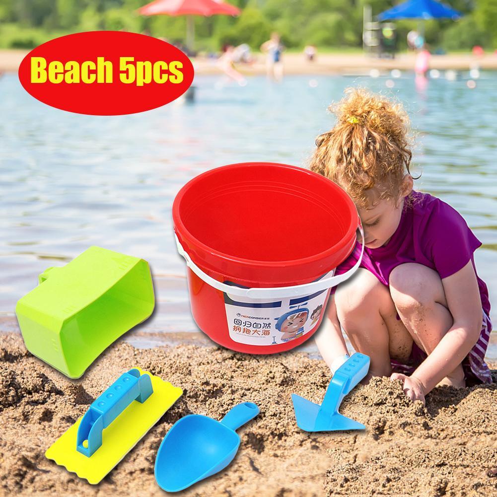 Juego de juguetes de simulación de pala playera de agua y playa de plástico no tóxico, gafas coloridas de cubo, juego de arena de Color aleatorio