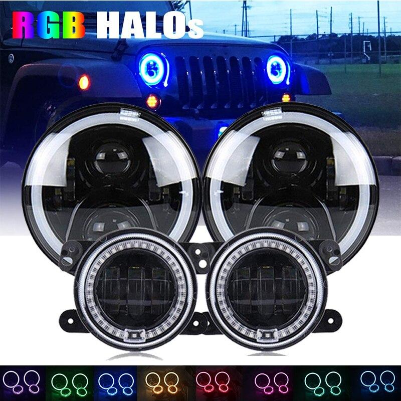 7Inch Led RGB Halo Headlights + 4Inch Front Bumper Fog Lights For 2007-2017 Jeep Wrangler JK Rubicon JKU Sahara Sport Unlimited