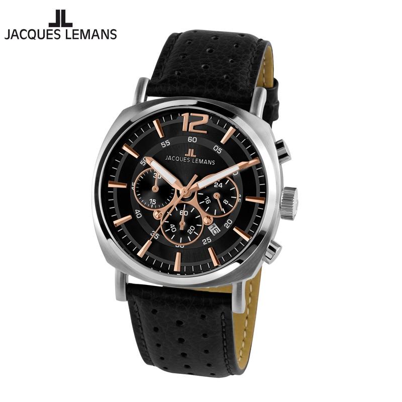 Jacques Lemans-reloj de cuarzo para hombre, cronógrafo de cuarzo, correa de cuero,...