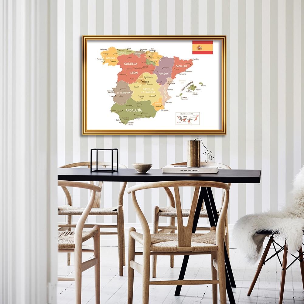 Художественный плакат на стену испанской политической карты размером A1, Картина на холсте без запаха, детские школьные принадлежности, укр...