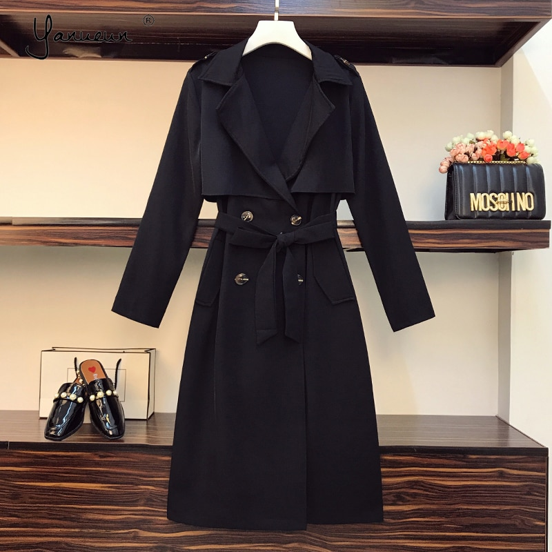 Yanueun-معطف واق من المطر مع أحزمة للنساء ، مقاس كبير ، أكمام طويلة ، مزدوج الصدر ، غير رسمي ، ملابس خارجية ، ربيع-خريف