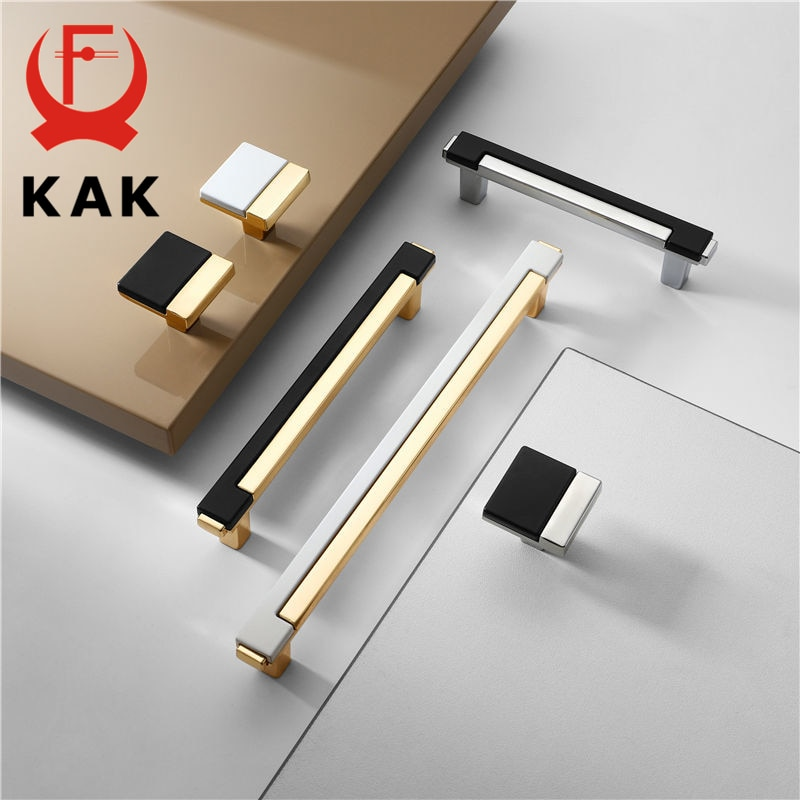 KAK Modern Gold Chrome Kitchen Handle Cabinet Knobs and Handles Fashion Drawer Pulls Furniture Door Hardware