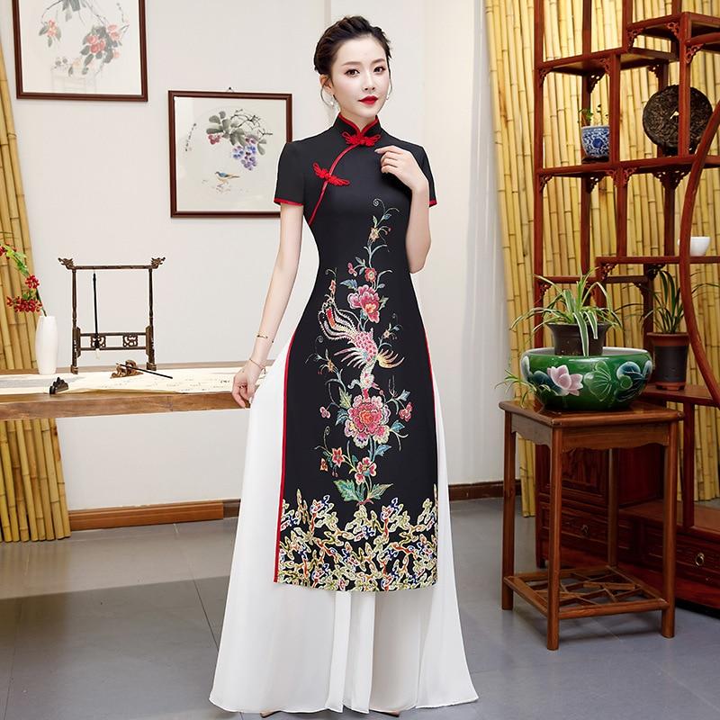 2020 ao dai vietnam longo cheongsam vestidos feminino roupas tradicionais chinesas vestido casual qipao estilo oriental preto robe