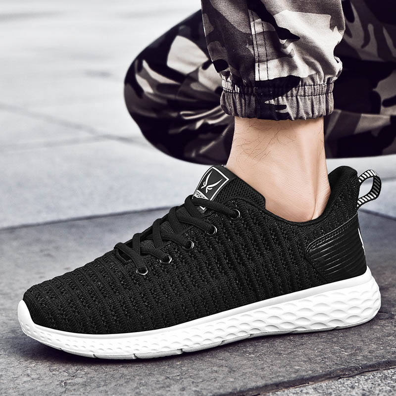 Tênis esportivo masculino, sapato casual de verão e primavera para homens, tênis de caminhada, respirável e confortável, preto, 2019