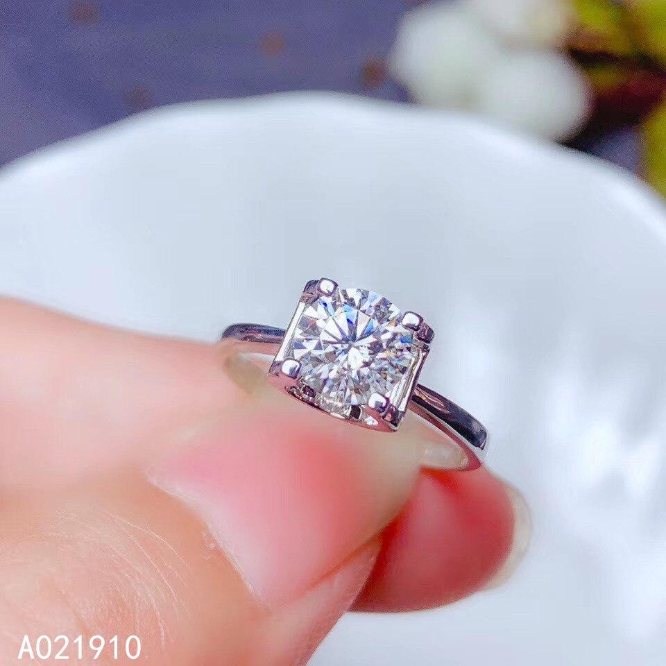 KJJEAXCMY بوتيك مجوهرات 18K الذهب مطعمة موسانج الماس 1 قيراط الإناث حلقة دعم كشف نوبل