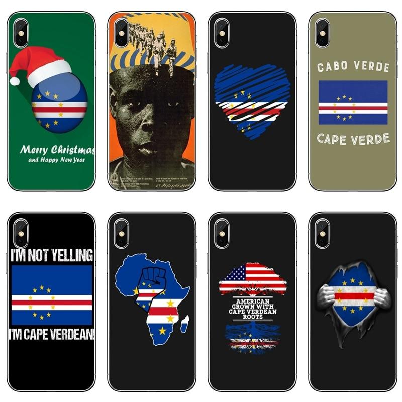 Cabo verde bandeira para iphone xr x xs max 8 7 6s 6 plus se 5S 5c 5 ipod touch acessórios caso do telefone
