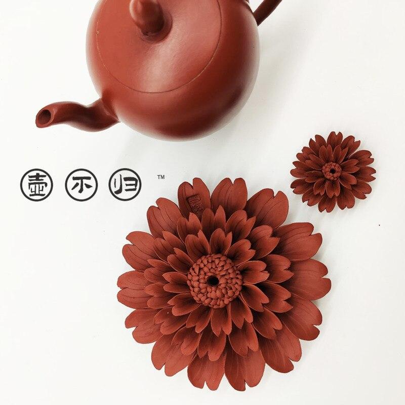 طقم شاي مصنوع يدويًا من الطين الأرجواني ، أقحوان ، زخارف نباتية كبيرة وصغيرة ، ديكورات منزلية ، طقم شاي إبداعي ، حيوانات أليفة