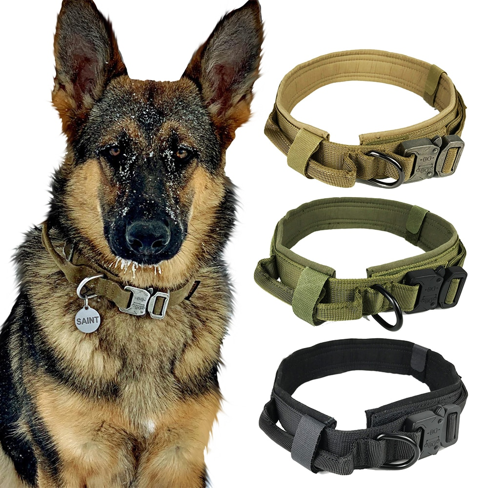 Collar de nailon ajustable para perro, collares tácticos militares para perro, Gato de entrenamiento con asa de Control, Collar para perro, productos para mascotas, accesorios