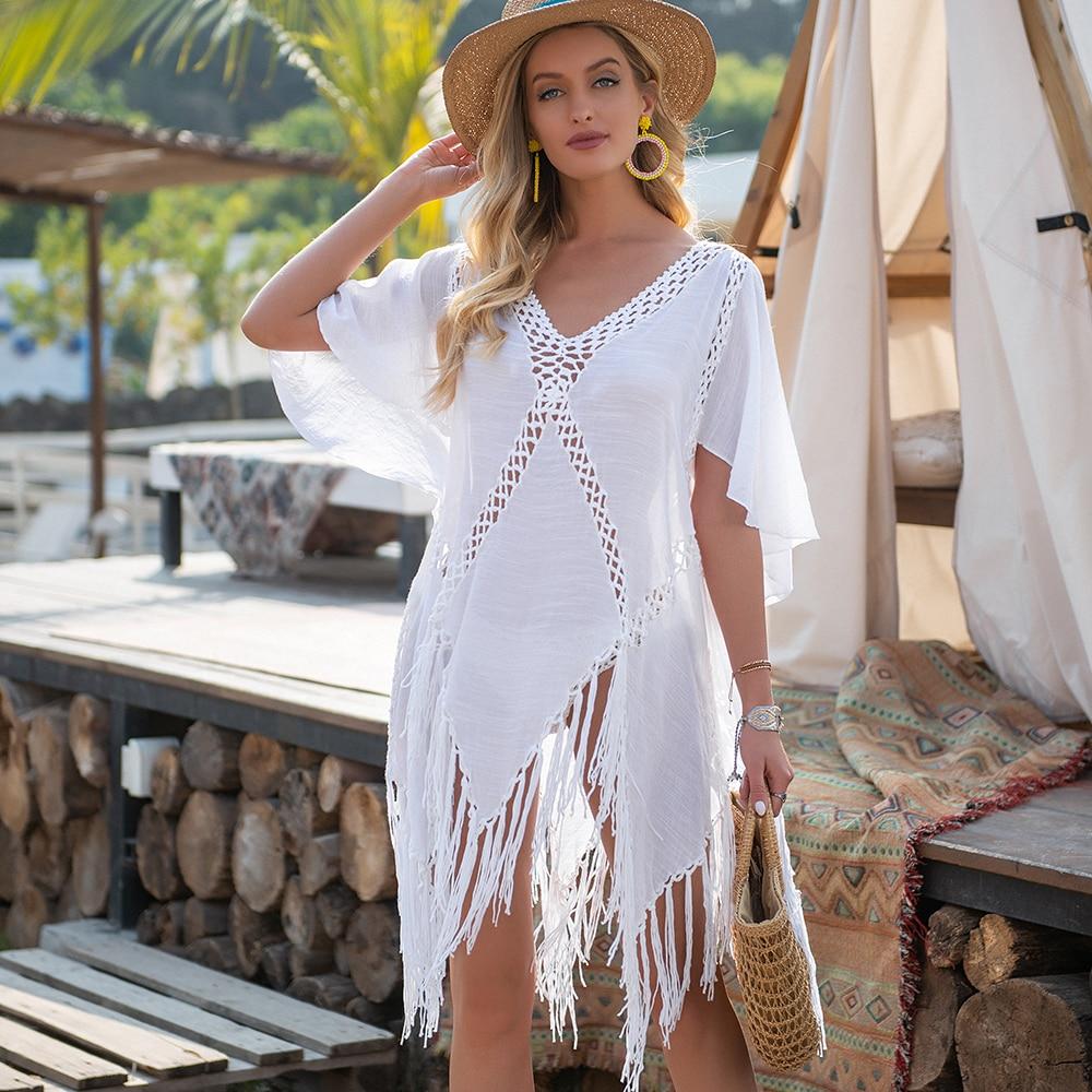 CROCHET BIKINI Backless Cover Up With Tassels Sexy V-neck Halter Beach Dress Women Summer Bathing Suit Beachwear
