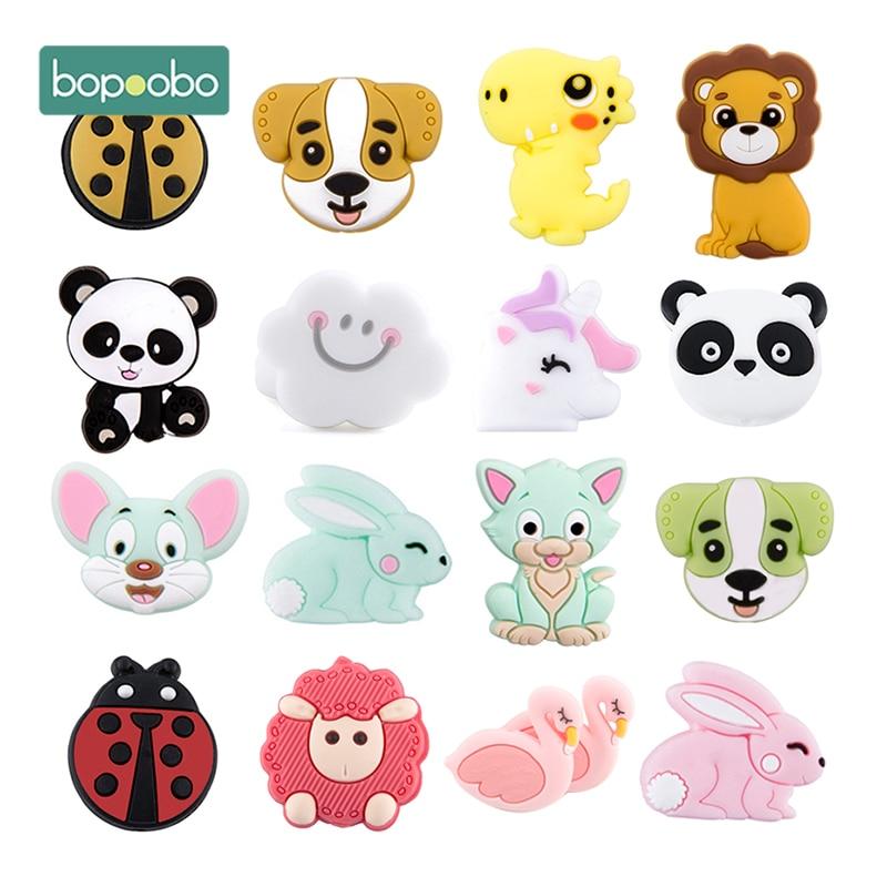 5 шт., силиконовые бусины в виде животных, BPA бесплатно, Детские бусины для прорезывания зубов, сделай сам, игрушки для соски, зажимы для новор...