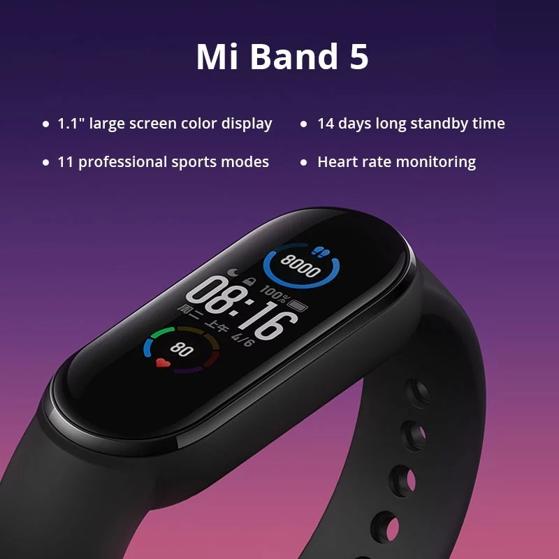In Stock Xiaomi Mi Band 5 Sport Wristband Heart Rate Fitness Tracker Bluetooth-compatible AMOLED Screen Smart Band Bracelet