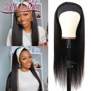 "Head Band Wig Straight Head Band Wigs Human Hair Remy Peruvian Headband Wigs 150% Headband Wig Human Hair For Black Women 10-28"""