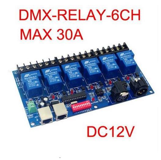 Melhor preço 1 pçs 6ch interruptor do relé dmx512 controlador rj45 xlr 6 vias interruptor de relé (max 30a) dmx512 decodificador