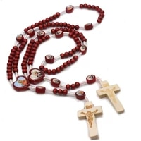 religious cross our lady rosary necklace unisex party wine red wooden beads hand made necklace trendy jewelry