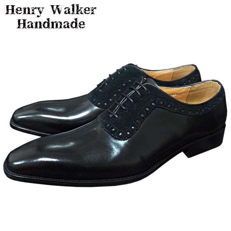 Elegant Men Oxford Shoes Genuine Leather Mens Dress Shoes Suede Lace Up Black Brown Office Business Wedding Formal Shoes For Men