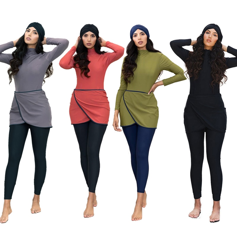 ملابس سباحة إسلامية نساء متواضع المرقعة الحجاب كم طويل الرياضة ملابس السباحة 3 قطعة ملابس السباحة الإسلامية Burkinis 4XL