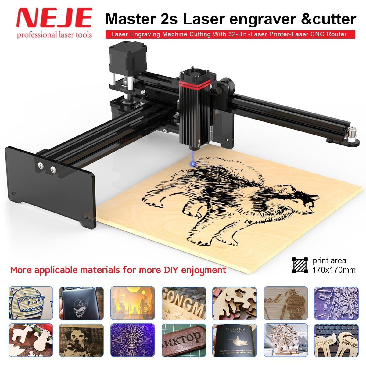 Лазерный гравировальный станок NEJE Master 2S, настольный лазерный резак для резки лазерного принтера, фрезерный станок с ЧПУ, беспроводное прило...