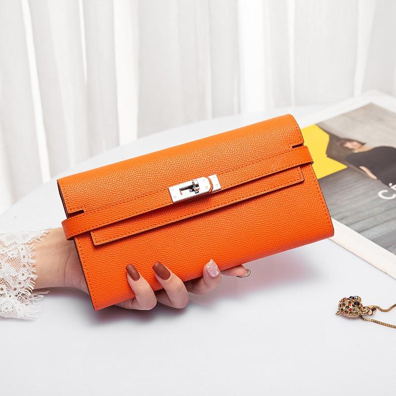 Leather women's wallet 2021 women's simple new Long Wallet top leather wallet luxury women's handbag wallet