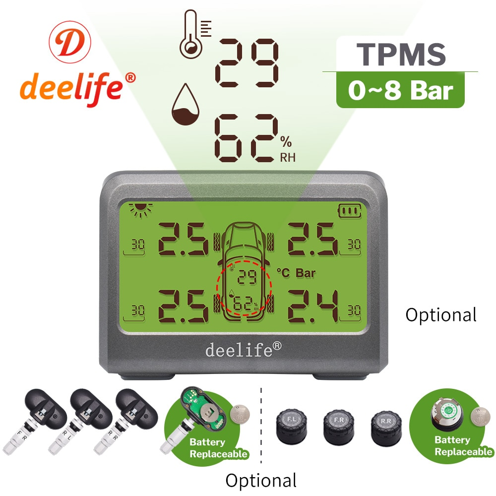 Deelife Solar TPMS Car Tire Pressure Monitoring System 0-8 Bar TMPS Wheel Tyre Internal External Sen