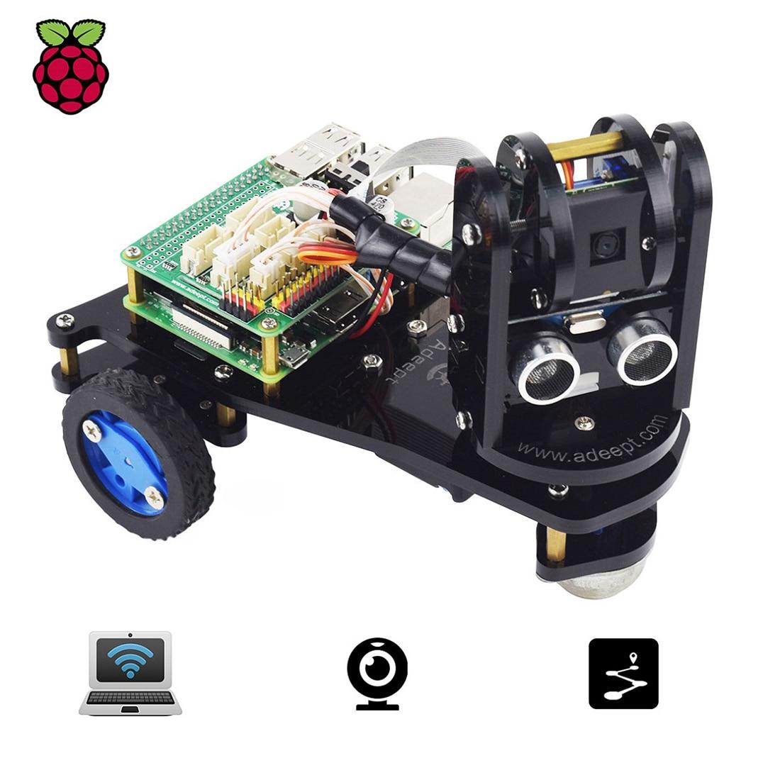 Adeept picar-a WiFi 3WD Robot inteligente coche Kit de transmisión de vídeo en tiempo Real Robot Car Stem Robot Educativo para Raspberry Pi4/3