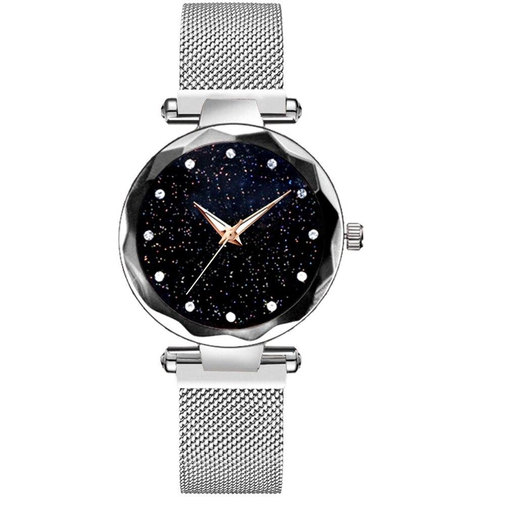 Sta-rry-Reloj de pulsera para mujer, reloj de pulsera magnético de cuarzo, relojes de pulsera con diamantes para mujer