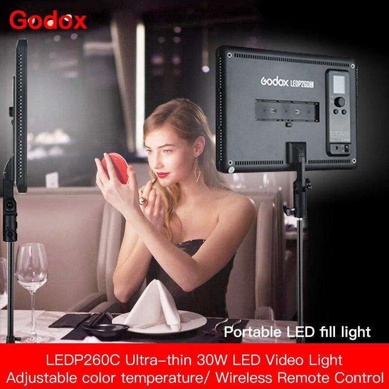 Godox 2 pces ledp260c ultra-fino 30 w 3300-5600k conduziu a lâmpada de painel de luz de vídeo com 2 pces 2m suporte de luz para luzes de estúdio de vídeo cd50 y