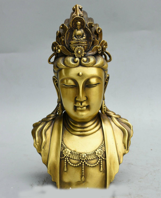 Decoración de boda budismo chino latón kwan-yin Guan yin Bodhisattva estatua de busto de cabeza de diosa