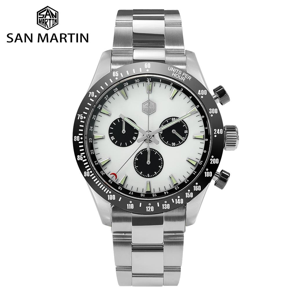 سان مارتن رجالي غواص ساعة موضة كلاسيكي سويسري روندا 5040F كوارتز الياقوت الكريستال التلقائي الميكانيكية مضيئة الساعات